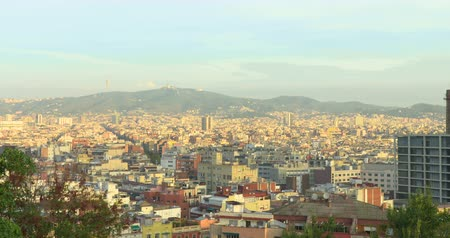 iberian : BARCELONA, CATALONIA - JULY 15th 2017: View of Barcelona from above hill. Summer sunny day Stock Footage