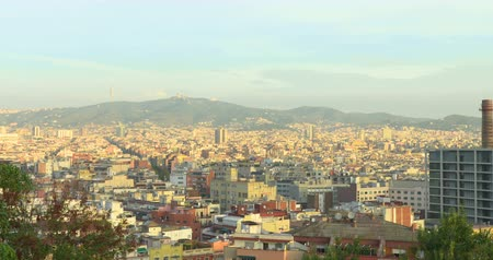 View of Barcelona from above hill. Summer sunny day