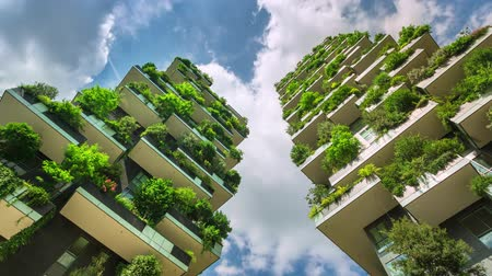 verticale : Milan, Italy - May 2017: Bosco Verticale or Vertical Forest is one best tall building. Residentia. Stock Footage