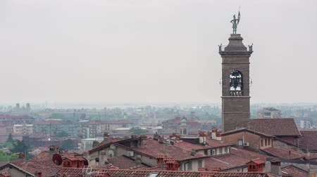 milaan : BERGAMO, ITALY - JUNE 11, 2017: Cityscape of Bergamo is the second most visited city in Lombardy after Milan Stockvideo