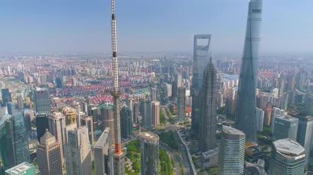 oryantal : SHANGHAI, CHINA - MAY5 2017: Aerial view video, business skycreapers skyline Huangpu river, Pearl Stok Video