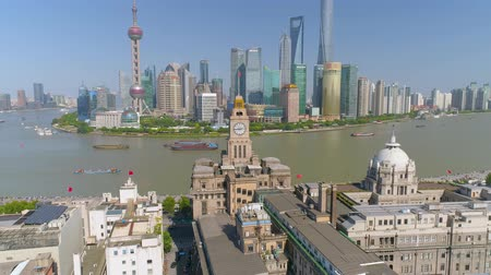 bund : SHANGHAI, CHINA - MAY 5, 2017: Aerial view video, business skycreapers skyline Huangpu river bridge Stock Footage
