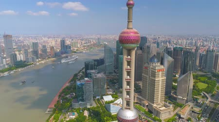 pudong : SHANGHAI, CHINA - MAY 5, 2017: Aerial view video, business skycreapers skyline Huangpu river bridge Stock Footage