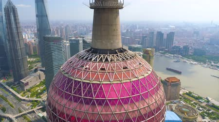 parel : SHANGHAI, CHINA - MAY5 2017: Aerial view video, business skycreapers skyline Huangpu river, Pearl Stockvideo
