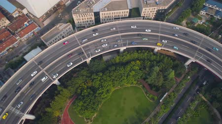 nanpu : Aerial view of Nanpu bridge highway junction, modern architecture Stock Footage