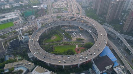 junção : SHANGHAI, CHINA - MAY 5, 2017: Aerial view of Nanpu bridge highway junction, modern architecture