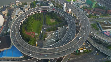 Aerial view of Nanpu bridge highway junction, modern architecture Стоковые видеозаписи