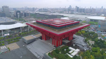 pavilion : SHANGHAI, CHINA - MAY 7, 2017: Aerial view of Museum of Art pavilion, former Expo site in Shanghai Stock Footage