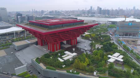 クラウン : SHANGHAI, CHINA - MAY 7, 2017: Aerial view of Museum of Art pavilion, former Expo site in Shanghai 動画素材