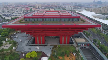 экспозиция : SHANGHAI, CHINA - MAY 7, 2017: Aerial view of Museum of Art pavilion, former Expo site in Shanghai Стоковые видеозаписи