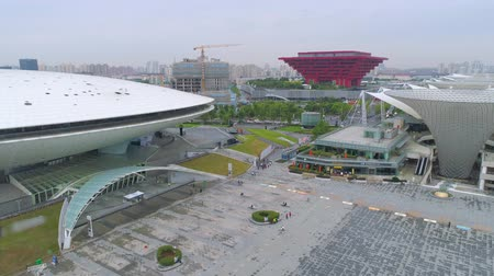 павильон : SHANGHAI, CHINA - MAY 9 2017: erial view of expo cultural center arena 4k drone shot