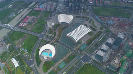 oryantal : SHANGHAI, CHINA - MAY 6, 2017: Aerial video of Shanghai Oriental Sports Center 4K fog, dusk Stok Video