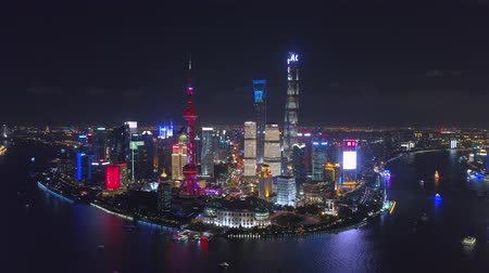 pearl : SHANGHAI, CHINA - MAY 5, 2017 Aerial drone video, night time illuminated famous pudong cityscape