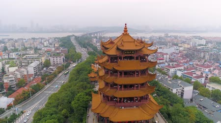 pavilion : WUHAN, CHINA - MAY 2, 2017: day time wuhan cityscape yellow crane temple aerial panorama 4k china