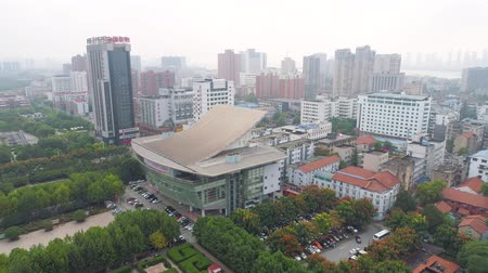 uprising : WUHAN, CHINA - MAY 2017: day time famous wuhan city museum revolution square park aerial panorama