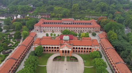 rewolucja : WUHAN, CHINA - MAY 2017: day time famous wuhan city museum revolution square park aerial panorama
