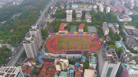 siyasi : WUHAN, CHINA - MAY 2017: day time famous wuhan city square park aerial panorama Stok Video
