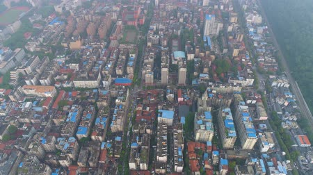 rewolucja : aerial drone view of the private houses buildings in the city centre day
