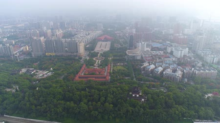 povstání : WUHAN, CHINA - MAY 2017: day time famous wuhan city museum revolution square park aerial panorama