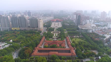 memorial day : WUHAN, CHINA - MAY 2017: day time famous wuhan city museum revolution square park aerial panorama