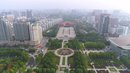 siyasi : WUHAN, CHINA - MAY 2017: day time famous wuhan city museum revolution square park aerial panorama
