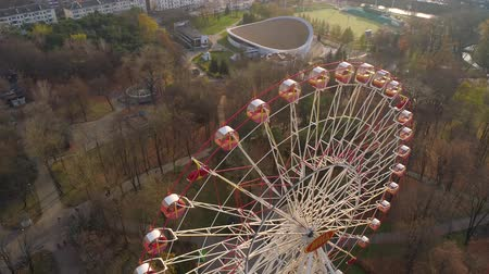 gorky : Minsk aerial drone shot autumn of the city amusement park view ferris wheel attraction recreation