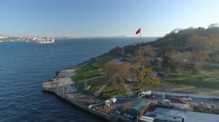 ponte sospeso : Ships floating Bosphorus blue water sunny day. Aerial drone view on sunset in Istanbul, Turkey