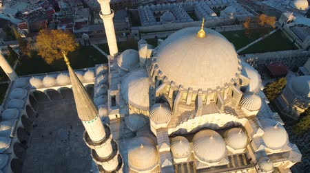 sofia : The Blue Mosque Sultanahmet in Istanbul, Turkie. Aerial drone view Shot. Blue sky, sunset.