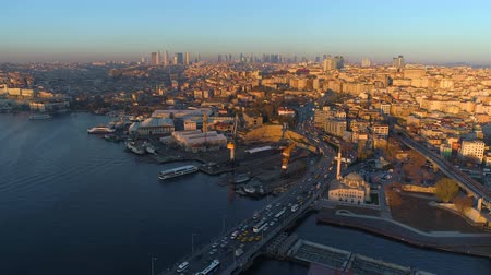 chifre : Aerial drone view of the Istanbul, Turkey. Bosphorus Halic bay. Sunny day. Fly over the bridges.
