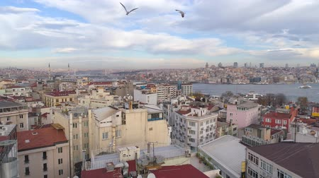 istanboel : Aerial drone shot of cloudy day in Istanbul, Turkie. From above, city centre, downtown. Bosphorus. Stockvideo