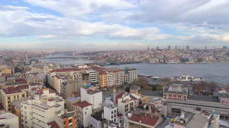 hoorn : Aerial drone shot of cloudy day in Istanbul, Turkie. From above, city centre, downtown. Bosphorus. Stockvideo