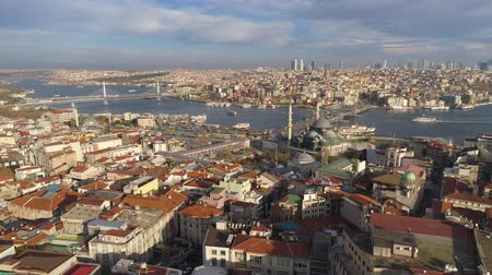 bosporus : Aerial drone shot of sunny day in Istanbul, Turkie. From above, city centre, downtown. Bosphorus.
