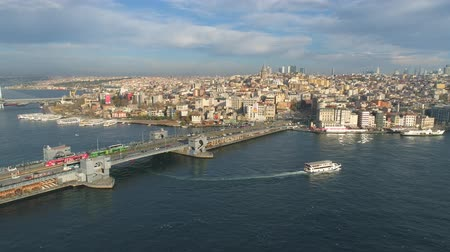 chifre : Aerial drone view of the Istanbul, Turkie. Bosphorus Halic bay. Sunny day. Fly over the bridges. Vídeos