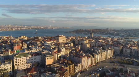 bosporus : Aerial drone shot of sunset in Istanbul, Turkie. From above, city centre, downtown. Bosphorus.