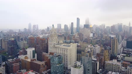 américa central : Aerial view of New York, Midtown Manhattan. Residental buildings, streets ans crossroads from above.