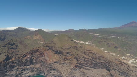 gigante : Aerial view of Los Gigantes Cliffs on Tenerife, drone shot from above, Canarias islands, Spain Stock Footage