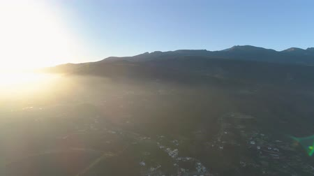teneryfa : Aerial view of a small town Granadillia on sunset among mountains in Tenerife, Canary Islands, Spain Wideo