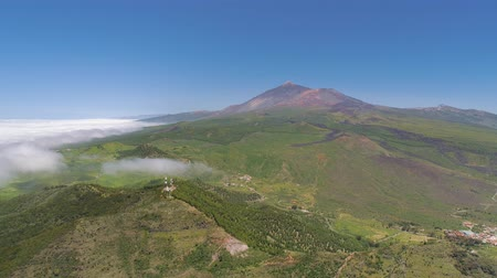 lookout point : Aerial view of volcanic mountain El Teide on Tenerife in a national park, Canarias islands, Spain Stock Footage