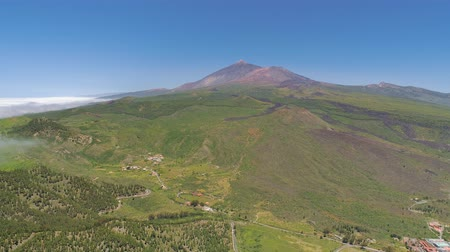 el teide : Aerial view of volcanic mountain El Teide on Tenerife in a national park, Canarias islands, Spain Stock Footage