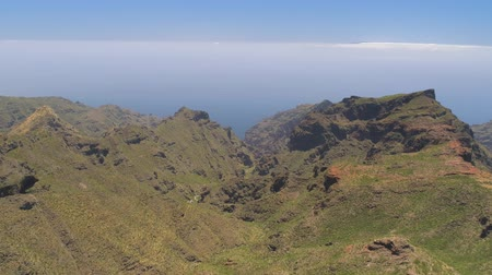 kanarya : Aerial view of mountains from above on Tenerife near volcanic mountain El Teide, Canarias, Spain