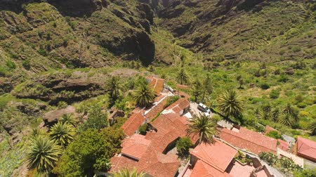 lookout point : Aerial view of mountain village in Masca canyon from above on Tenerife, Canarias, Spain