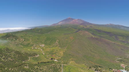 el teide : Aerial view of mountains from above on Tenerife near volcanic mountain El Teide, Canarias, Spain