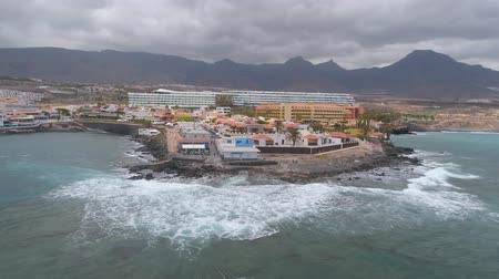 kanarya adaları : TENERIFE, LA CALETA, SPAIN - MAY 18, 2018: Aerial view rocky coast of Atlantic ocean, Canary islands