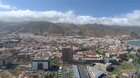 カナリア諸島 : SANTA CRUZ, TENERIFE, SPAIN - MAY, 18, 2018: Aerial view of a city centre.