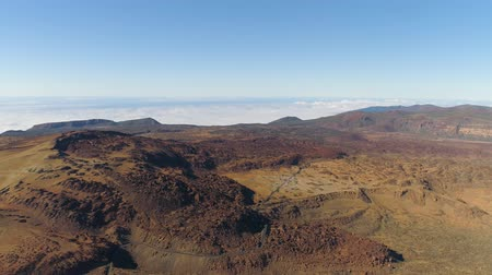 kanarya : Aerial view of the Teide National Park, flight over the mountains and lava. Tenerife, Canary Islands