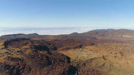 kanarya adaları : Aerial view of the Teide National Park, flight over the mountains and lava. Tenerife, Canary Islands