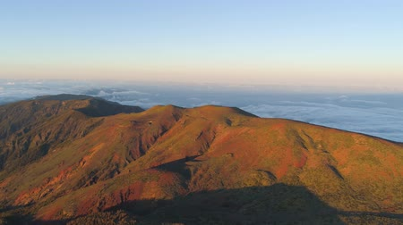 kanarya : Aerial view of Teide National Park, flight over the mountains at sunset. Tenerife, Canary Islands Stok Video