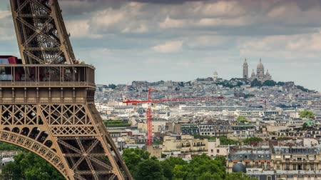 arco : PARIS, FRANCE - JUNE 19, 2018: Eiffel Tower day timelapse. Fast movement.