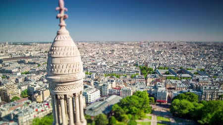 chapel : Panorama of Paris timelapse. Top view from Sacred Heart Basilica of Montmartre . Sunny day.