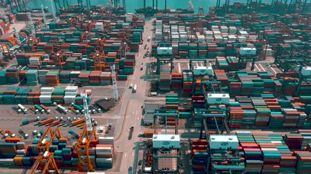 tersane : HONG KONG - MAY 1, 2018: Aerial view of a modern port container terminal. Import and export, business logistic.